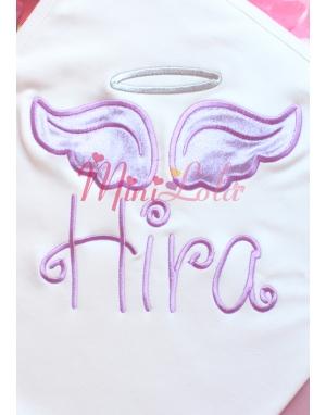 Lila renkli melek kanat işlemeli gümüş detay isimli battaniye