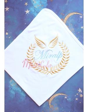 Mavi dore renk melek sarmaşık kanat desen isimli battaniye