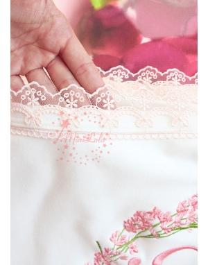 Somon tonları lavanta desen işlemeli isimli dantelli battaniye