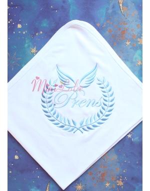 Mavi melek kanat isim işlemeli beyaz battaniye
