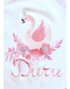 Somon pembe renk gümüş detay kuğu desenli isimli battaniye