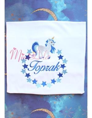 Saks-bebe mavi unicorn yıldız desenli isimli battaniye