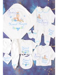 Mavi gri lavanta çiçekli ceylan bebek işlemeli isimli 10lu set