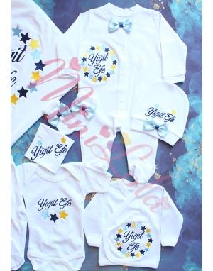 Mavi sarı lacivert yıldız çember desenli isimli 10lu set