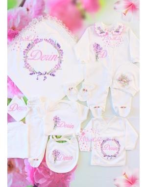 Pembe lila renkli lavanta desen işlemeli dantelli isimli 10lu set
