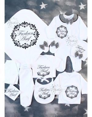 Siyah vintage çerçeve desenli isim işlemeli yakalı 10lu set