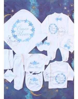 Bebe mavi renk yıldız baloncuk desenli isim nakışlı 10lu set