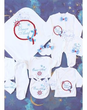 Mavi bordo renk çapa halat desenli isimli 10lu set