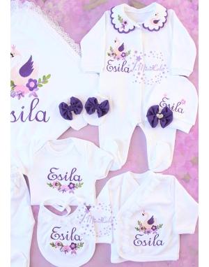 Mor lila kuğu desenli dantel detaylı isimli dantelli 10lu set