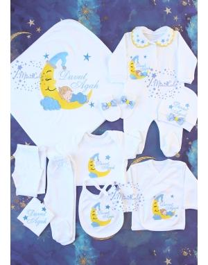 Mavi renkli ay ve uyuyan bebek nakış işlemeli yakalı isimli 10lu set