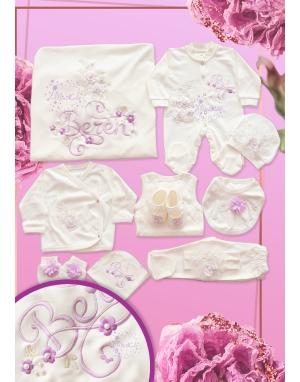 Lila ekru renk kabarık dantel çiçekli boncuk isim işlemeli zarif 11li set