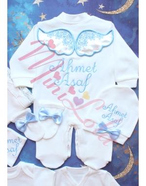 Krem kadife kanatlı mavi melek kanat işlemeli dantelli isimli 10lu set