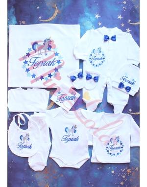 Saks-bebe mavi unicorn yıldız desenli isimli 10lu set