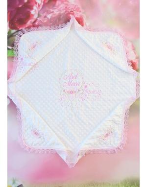 Pembe tonları rokoko çiçek işlemeli isimli dantelli zarif nohut battaniye