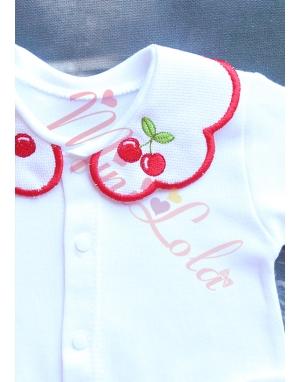 Kırmızı beyaz renk kiraz çiçek desenli isimli 10lu set