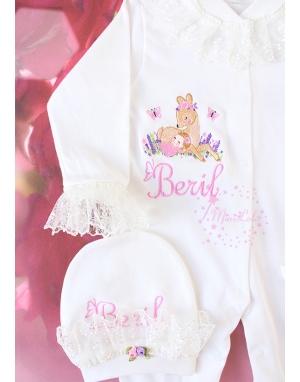 Pembe mor lavanta çiçekli ceylan bebek işlemeli dantel isimli tulum seti
