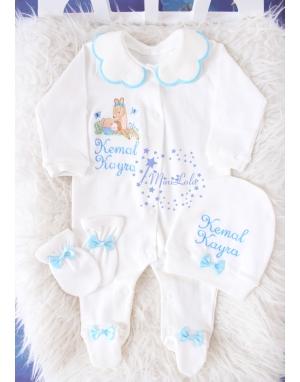 Mavi gri lavanta çiçekli ceylan bebek işlemeli isimli tulum seti