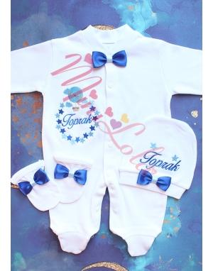 Saks-bebe mavi uçan balon yıldız desenli isimli tulum seti