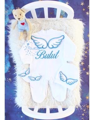 Simli mavi renk kabarık melek kanatlı isimli tulum seti