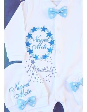 Açık koyu mavi renkli yıldız desenli isim nakışlı tulum seti
