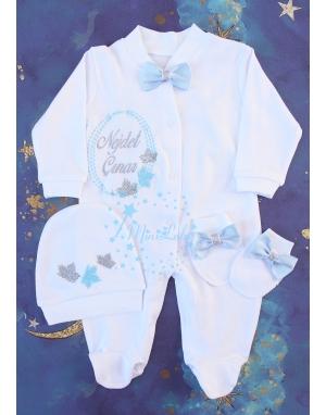 Gümüş mavi çınar yaprak desenli isim işlemeli beyaz tulum seti