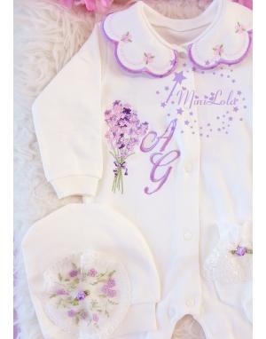 Lila pembe renkli lavanta desen işlemeli dantel isimli dantelli 10lu set