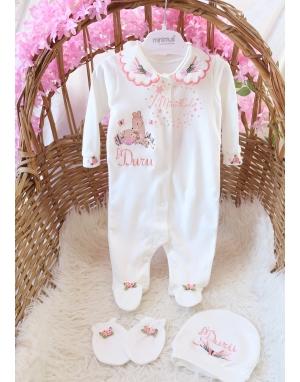 Somon pembe lavanta çiçekli ceylan bebek işlemeli isimli yakalı tulum seti