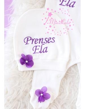 Mor renk taç isim işlemeli şifon çiçekli krem tulum seti