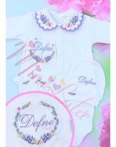 Pembe lila renkli lavanta kelebek desen işlemeli isimli tulum seti
