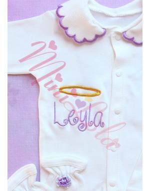 Lila gold renk melek kanat işlemeli yakalı tulum seti