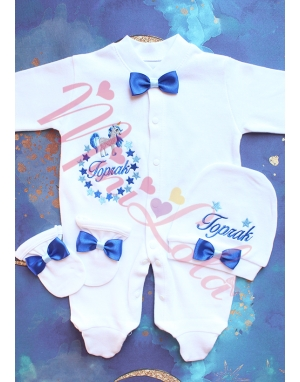 Saks-bebe mavi unicorn yıldız desenli isimli tulum seti