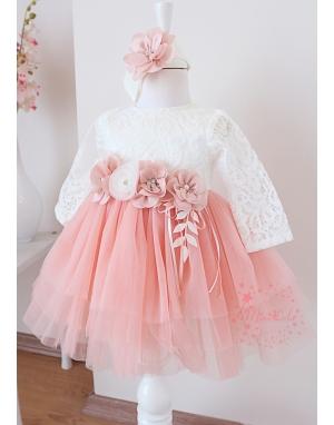 Somon renk kabarık tül etekli çiçek dantel detaylı elbise mevlüt seti