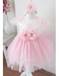 Pembe çiçek dantel detaylı kabarık tül etekli zarif elbise mevlüt seti