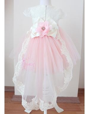 Pembe ekru renk çiçek dantel detaylı kuyruklu tül etekli zarif elbise