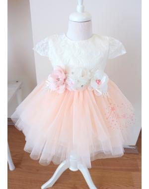 Somon renk çiçek dantel detaylı tül etekli zarif elbise