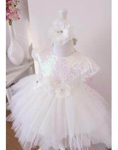 Beyaz payet kumaşlı çiçekli kabarık tül etekli elbise mevlüt seti