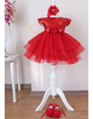 Kırmızı payet kumaşlı çiçekli kabarık tül etekli elbise mevlüt seti