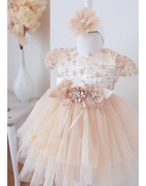 Açık kahve çiçek dantel detaylı kabarık tül etekli zarif elbise mevlüt seti