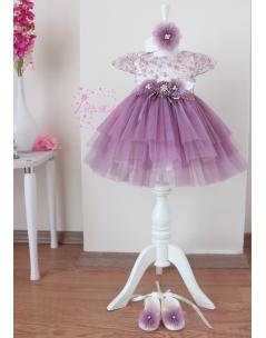 Mor çiçek dantel detaylı kabarık tül etekli zarif elbise mevlüt seti
