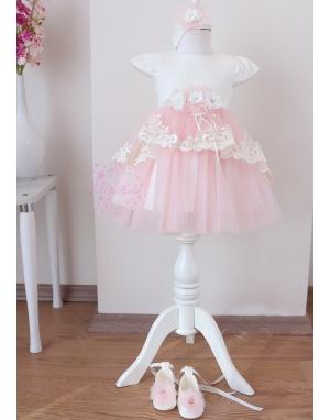 Pembe renk aplike dantel detaylı kuyruklu tül etekli zarif elbise mevlüt seti