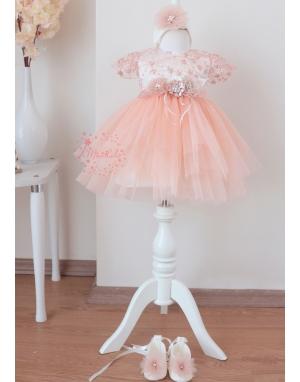 Somon çiçek dantel detaylı kabarık tül etekli zarif elbise mevlüt seti