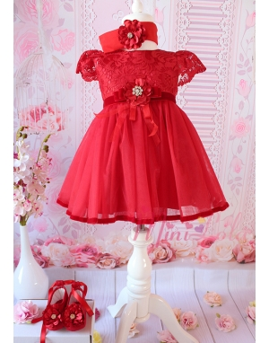 Kırmızı renk dantelli şakayık güllü zarif elbise mevlüt seti