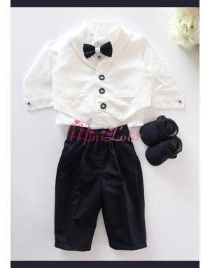 Lacivert renk beyaz yelekli düğme detaylı takım elbise