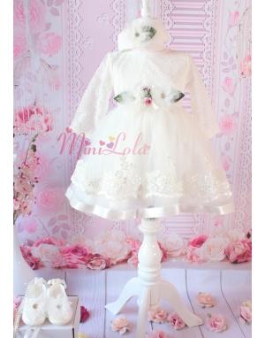 Kırık beyaz eteği çiçek dantelli zarif elbise seti
