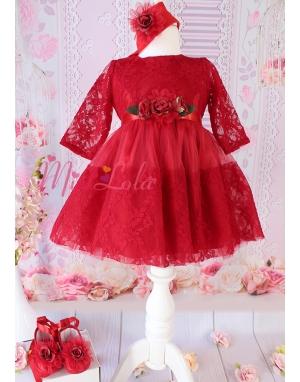 Kırmızı renk çiçek dantelli kollu zarif elbise mevlüt seti