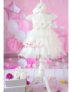 Kırık beyaz katlı tül etekli çiçekli elbise seti