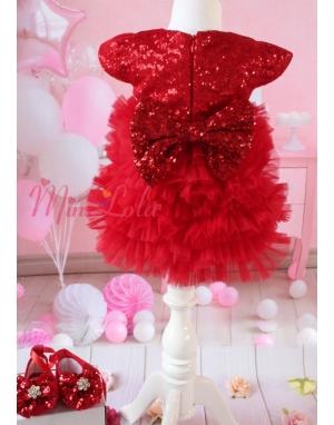 Kırmızı payet fiyonklu katlı tül detaylı zarif elbise takımı