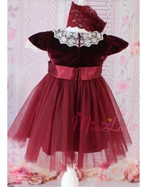 Kırmızı kadife fiyonklu krem dantel detaylı zarif elbise takımı