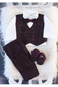 Koyu mürdüm renk beyaz yelekli düğme detaylı takım elbise