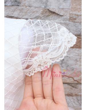 Toz pembe ekru renk kat kesim etekli kabarık dantelli elbise seti
